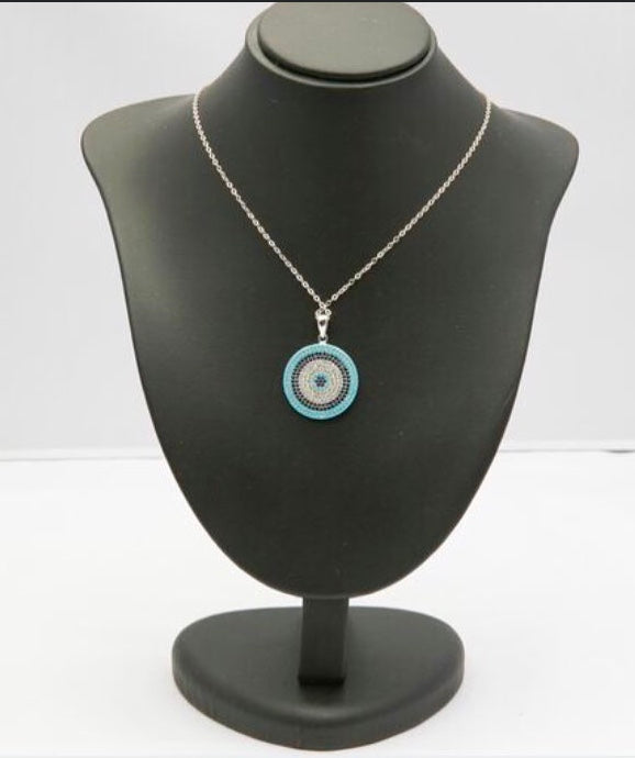 Stunning CZ Stone Evil Eye Necklace