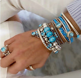 Aqua / Blue  all the way - 6 Bracelets and 1 adjustable ring or buy individually.