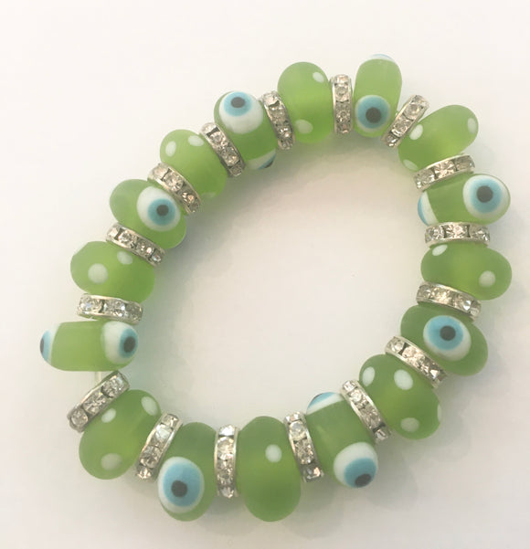 Glass Evil Eye Bracelet - Green.