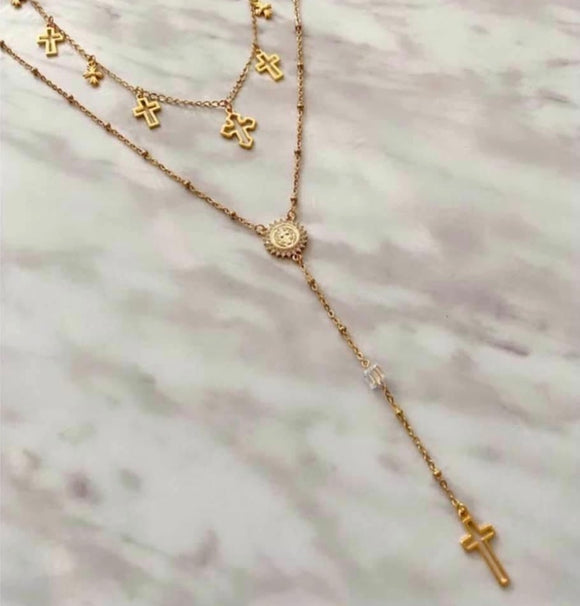 Long and Short gold cross chains - From $74