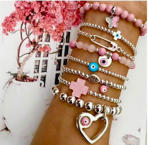 For the love of Pink Evil Eye & Heart Bracelet - 8 Bracelets - Only 2 Hearts only avail $83 each