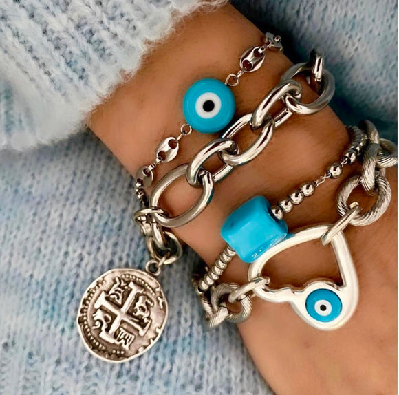 4 Bracelets - Stainless steel chain & Evil Eye, Cross, cube - $250 all 4 together $save $50)