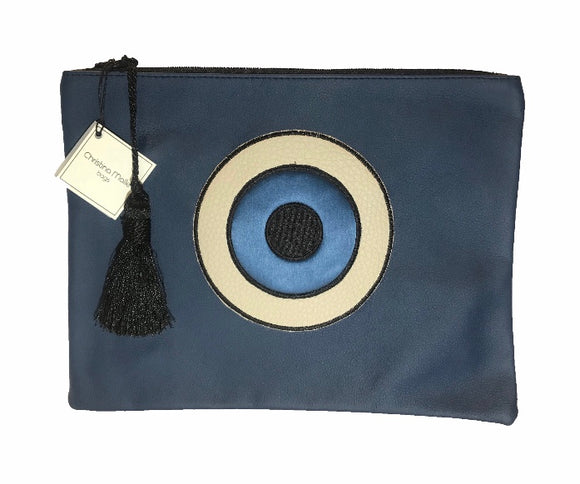 Evil Eye Leather Clutch Bag with Tassles