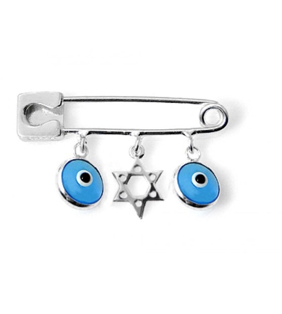 Star of David Charm Pin with Evil Eyes