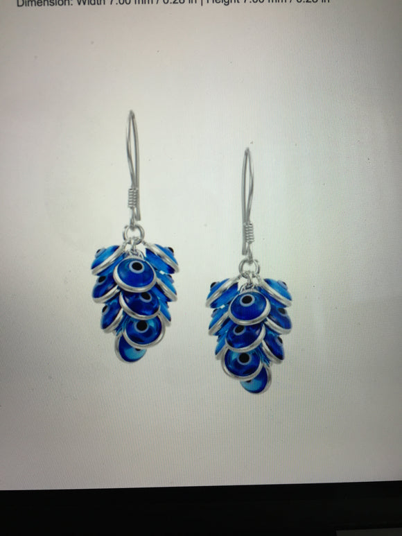 Glass Blue Evil Eye Earrings