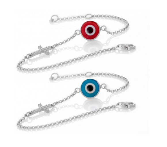 Greek Blue Mati Evil Eye Cross Bracelet