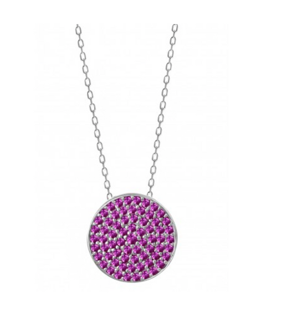 Fuchsia Disc Pendant Necklace