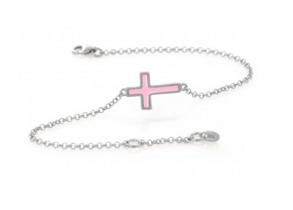 PINK - Sideways Cross Bracelet - Was $45 now $22 (Gold, Sivler, Rose)