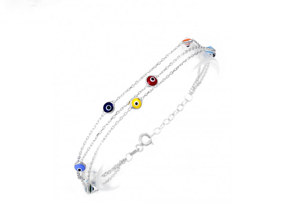 Silver Greek Mati Evil Eye Bracelet