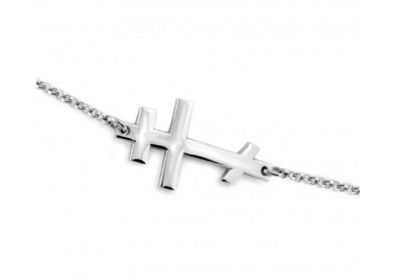 Plain Silver Russian Orthodox Cross Bracelet