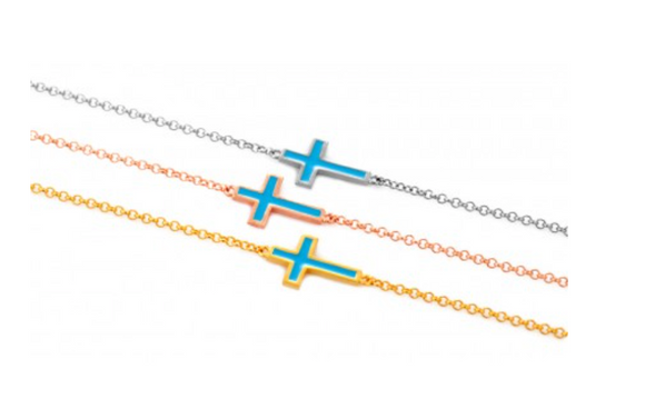BLUE - Double Sided Cross Charm Bracelet - Was $45 now $22