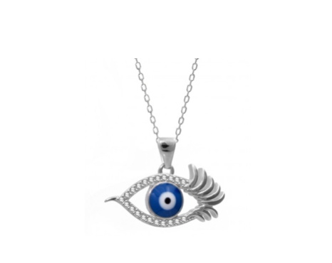 Evil Eye Necklace with Enamel Greek Evil Eye