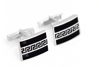 Sterling Silver Greek Key Cufflinks for Men