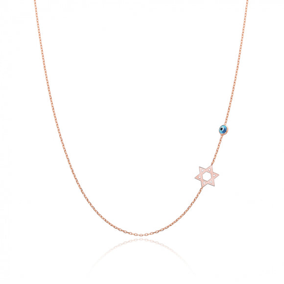 David Star With Turquoise Evil Eye Sideway Initial Necklace