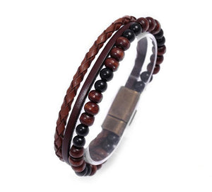 Beaded Braided Leather Men's Bracelet