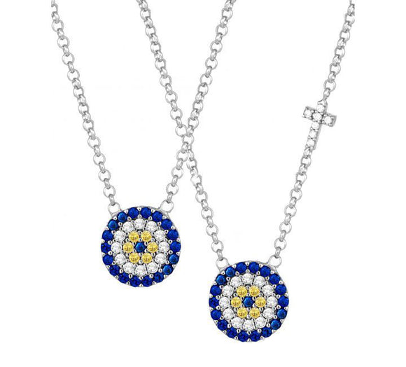 Evil Eye Necklace with CZ Stones 40-45cm