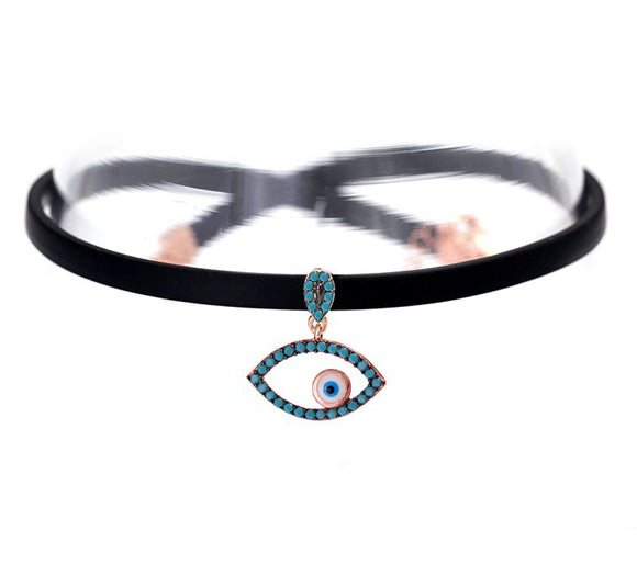 Choker Necklace with Evil Eye Charm