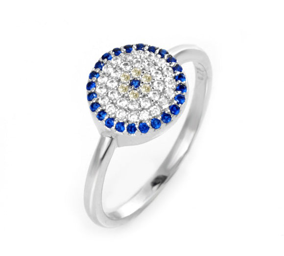 Evil Eye Ring with Cz Stones
