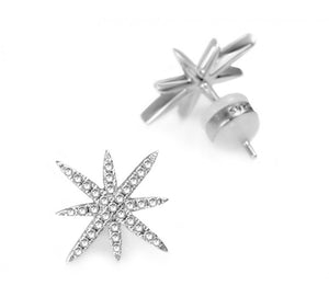 Silver Starburst Earrings with Cz Stones