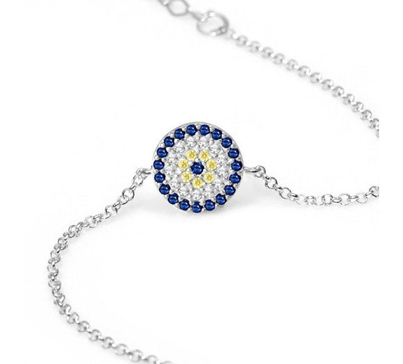 Evil Eye Bracelet with Cz Stones Disk