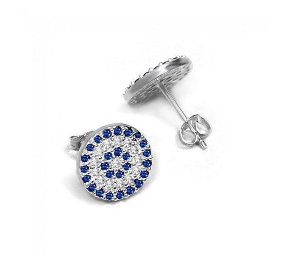 Greek Luck Eye Earrings with CZ Stones