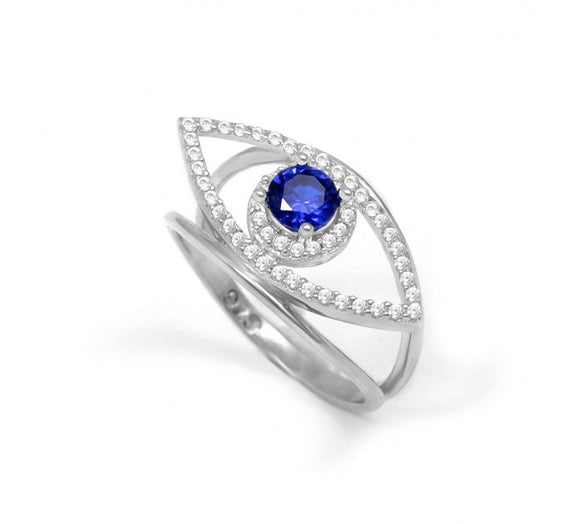 Greek Lucky Eye Ring with CZ Stone