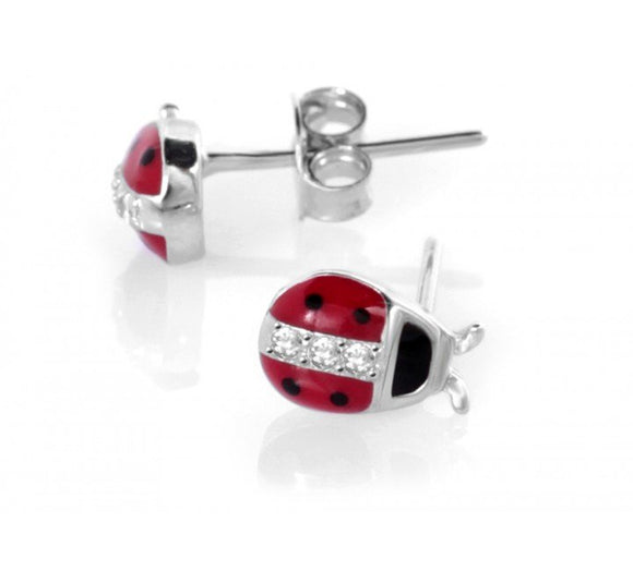 Children's Sterling Silver Red Ladybird Stud Earrings