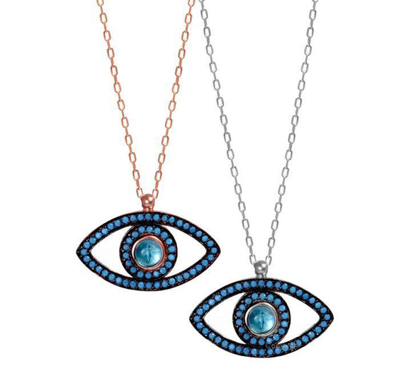 Blue Designer Evil Eye Necklace 42 to 45cm Adjustable