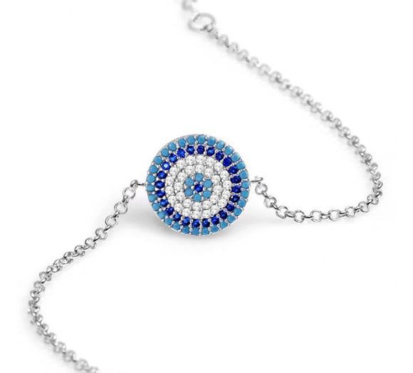 Lucky Eye Bracelet with Nano Turquoise and CZ Stones