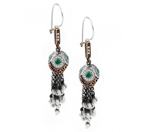 Turkish Emerald Tassel Earrings