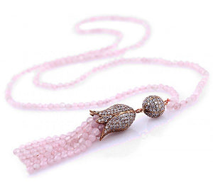 Tulip Necklace with Pink Opal CZ Stones