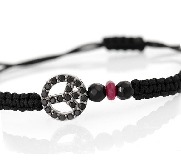Black Peace Sign Macrame Bracelet