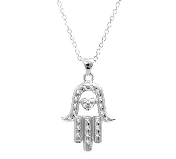 Sterling Silver Evil Eye CZ Hamsa Necklace With Quality CZ Stones