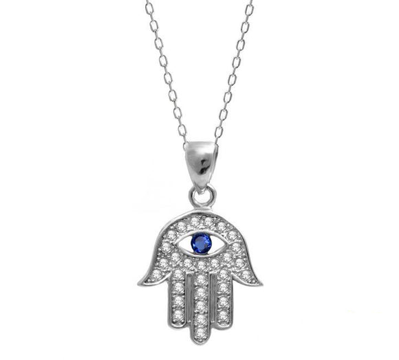 Fatima Hamsa Blue Eye Necklace
