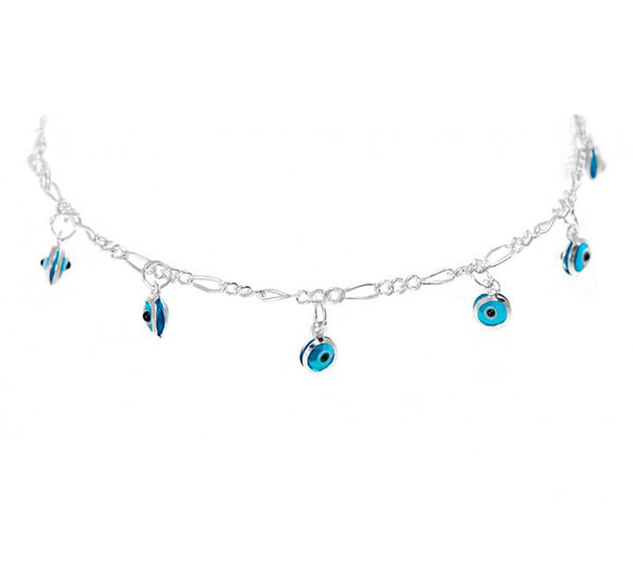 Sterling Silver Anklet with Evil Eye Charms
