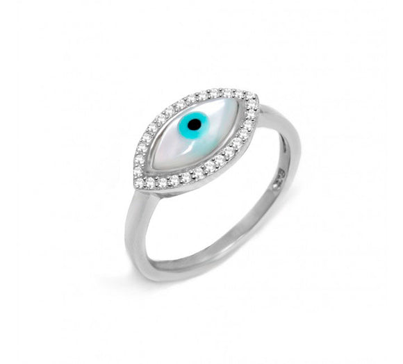 Sterling Silver Mother of Pearl Evil Eye Ring