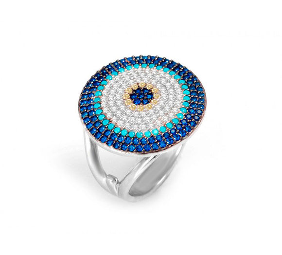 Big Round Ring with Cz Evil Eye