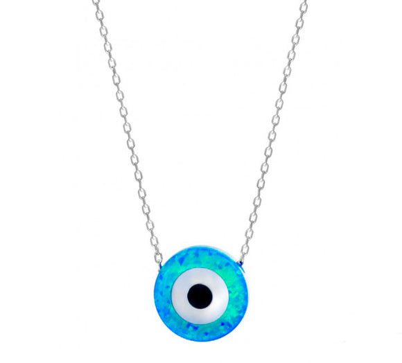 Evil Eye Necklace with Blue Opal Stone