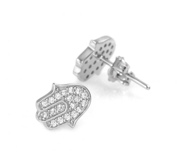 Hamsa Stud Earrings with Cz Stones