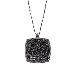 Square Necklace with Black Cz Stones