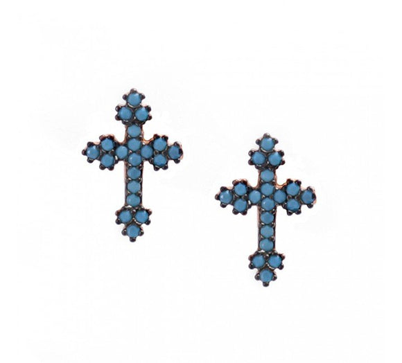 Cross Earrings with Nano Turquoise Stones