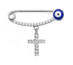 Evil Eye Baby Pin with Cross Charm