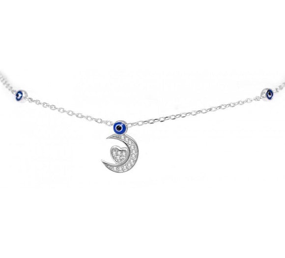 Silver Anklet with Dangle Moon and Heart