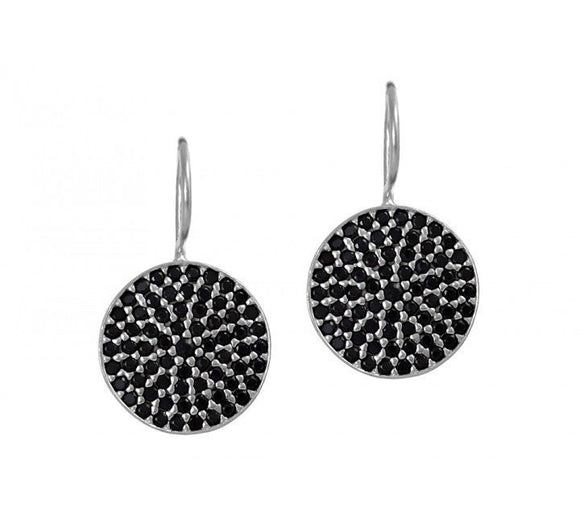 Onyx Round Disc Earrings