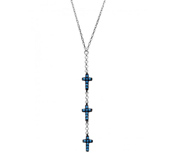 Celebrity Inspired Mini Cross Nano Turquoise Necklace