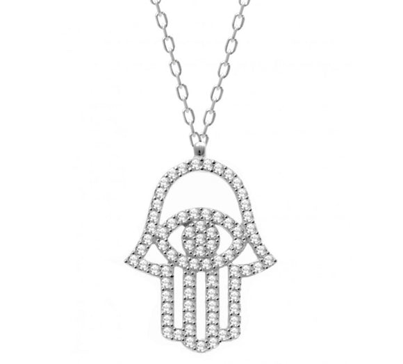 Silver Hamsa Necklace with Cz Stones