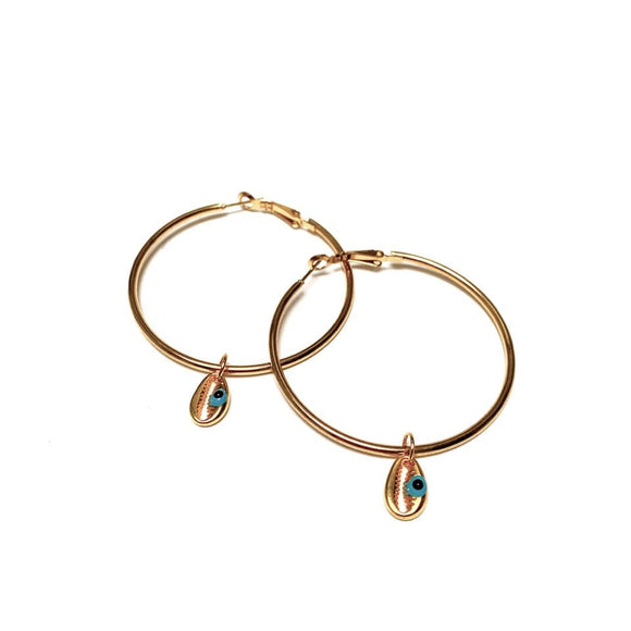 Artisan Jewellery - Gold Hoop Evil Eye Earrings - Pink Eye or Blue Tear Drop