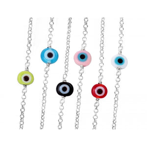 Murano Glass Mini Eye Silver Bracelet
