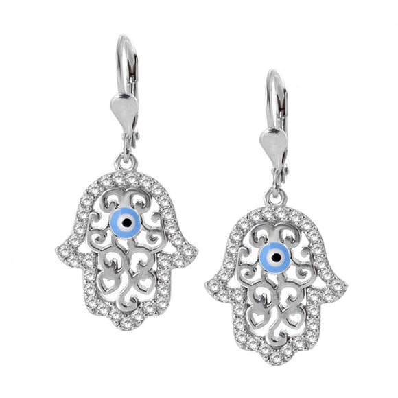 Silver Hamsa Evil Eye Earrings