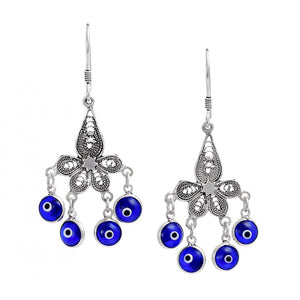 Silver Filigree Eye Earrings